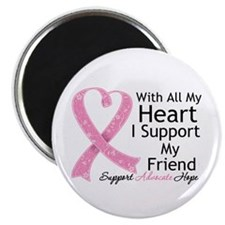 """Heart Friend Breast Cancer 2.25"""" Magnet (100 pack)"""
