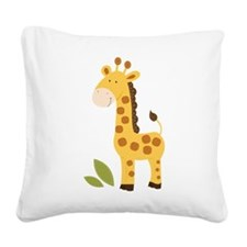 Yellow / Orange Cute Giraffe Square Canvas Pillow