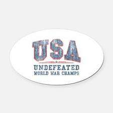 V. USA World War Champs Oval Car Magnet