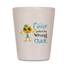 Ovarian Cancer Picked The Wrong Chick Shot Glass
