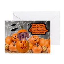 Dachshund Halloween (Red) Greeting Cards (Package
