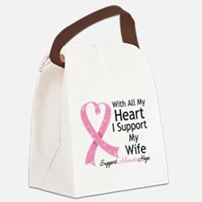 Heart Wife Breast Cancer Canvas Lunch Bag