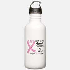 Heart Wife Breast Cancer Water Bottle