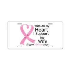 Heart Wife Breast Cancer Aluminum License Plate