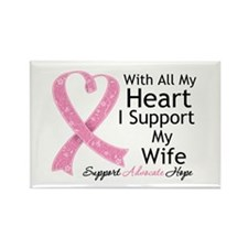 Heart Wife Breast Cancer Rectangle Magnet