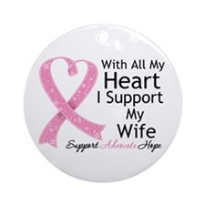 Heart Wife Breast Cancer Ornament (Round)