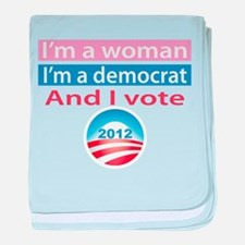I'm a Woman, I'm a Democrat, and I Vote! baby blan