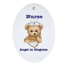 Nurse - Angel in Disguise Oval Ornament