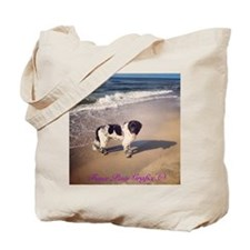 Newfie on the beach 2 Tote Bag