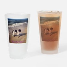 Newfie on the beach 2 Drinking Glass