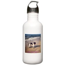 Newfie on the beach 2 Sports Water Bottle