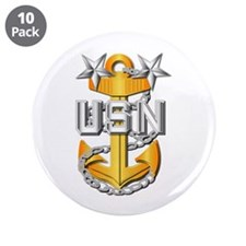 """Navy - CPO - MCPO Pin 3.5"""" Button (10 pack)"""
