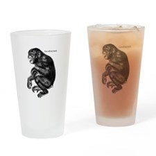 Sarcastic Chimp: Get off my back. Drinking Glass