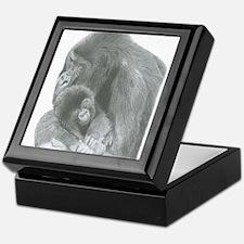 Pencil Drawing of Gorilla and Baby Keepsake Box
