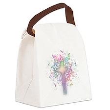 Rainbow Floral Cross Canvas Lunch Bag