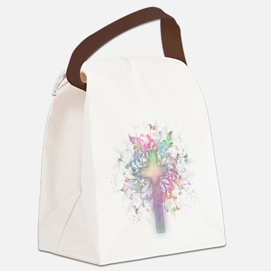 Rainbow Floral Cross Canvas Lunch Bag