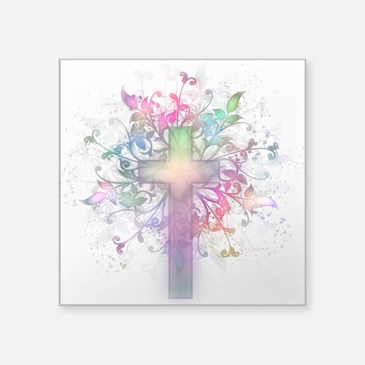 "Rainbow Floral Cross Square Sticker 3"" x 3"""