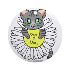 Oops-a-Dazy Kitten Ornament (Round)