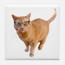 Orange Cat Glasses Tile Coaster