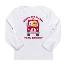 Fire Truck 1st Birthday Boy Long Sleeve Infant T-S