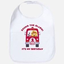 Fire Truck 1st Birthday Boy Bib