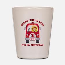 Fire Truck 1st Birthday Boy Shot Glass
