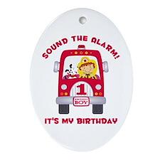 Fire Truck 1st Birthday Boy Ornament (Oval)