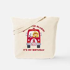 Fire Truck 1st Birthday Boy Tote Bag