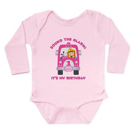 Fire Truck 1st Birthday Girl Long Sleeve Infant Bo