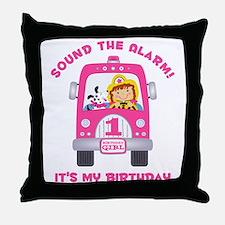 Fire Truck 1st Birthday Girl Throw Pillow