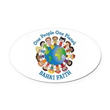 One people One planet Baha'i Oval Car Magnet