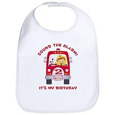 Fire Truck 2nd Birthday Boy Bib