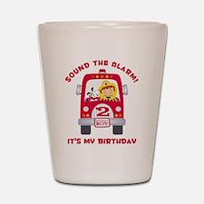 Fire Truck 2nd Birthday Boy Shot Glass