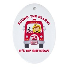 Fire Truck 2nd Birthday Boy Ornament (Oval)
