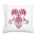 Namaste Henna Tattoo in Ruby Square Canvas Pillow