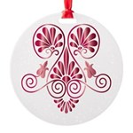 Namaste Henna Tattoo in Ruby Round Ornament