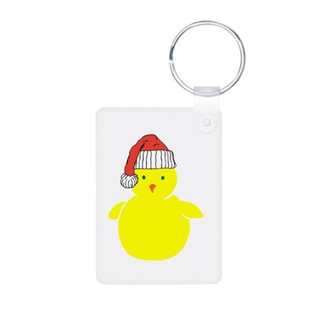 Christmas Chick Aluminum Photo Keychain