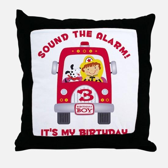 Fire Truck 3rd Birthday Boy Throw Pillow