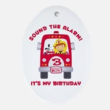 Fire Truck 3rd Birthday Boy Ornament (Oval)