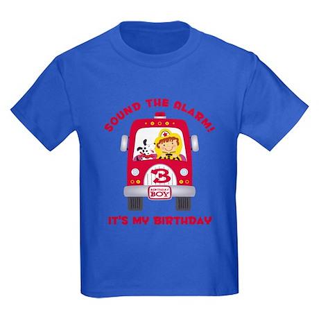 Fire Truck 3rd Birthday Boy Kids Dark T-Shirt