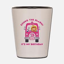 Fire Truck 3rd Birthday Girl Shot Glass