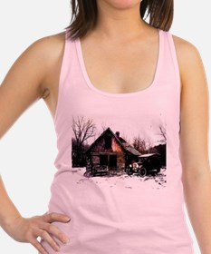 log_cabin_Grunge_8_NoteCard.jpg Racerback Tank Top