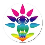 Rainbow Yogi Round Car Magnet