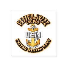 """Navy - CPO - SCPO Square Sticker 3"""" x 3"""""""