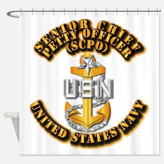 Navy - CPO - SCPO Shower Curtain