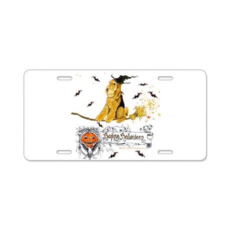 Halloween Airedale Aluminum License Plate