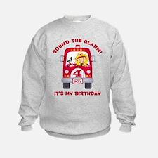 Fire Truck 4th Birthday Boy Sweatshirt