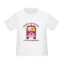 Fire Truck 4th Birthday Boy T