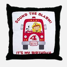 Fire Truck 4th Birthday Boy Throw Pillow