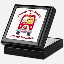 Fire Truck 4th Birthday Boy Keepsake Box